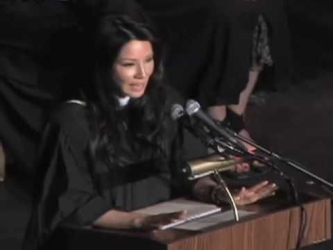 Lucy Liu finishes graduation keynote to Stuyvesant High School Class of ...