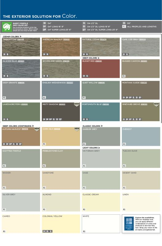 Mastic plygem quest siding color choices ideas for the house pinterest colors siding for Exterior house paint comparison chart