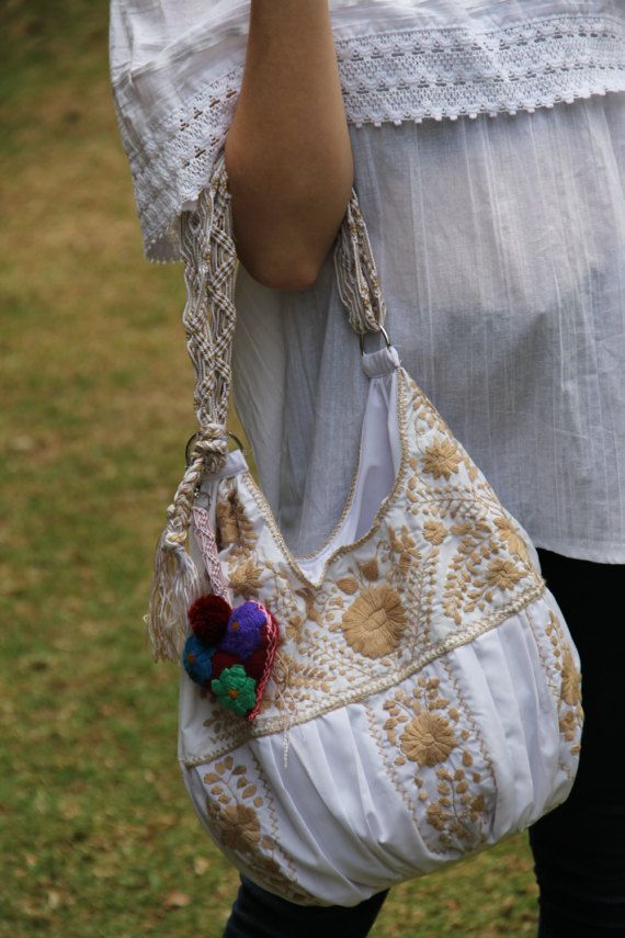 White and Tan hand Embroidered Huipil Boho Travel tote