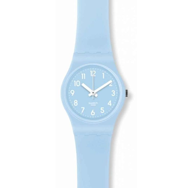 Swatch LS111C Women's Soft Sky Blue Plastic Silicone Rubber Strap Watch