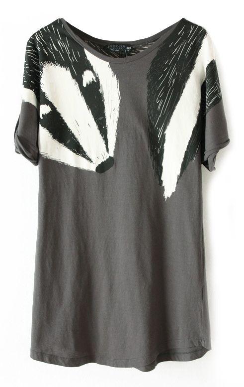 Grey Short Sleeve Shoulder Fox Print T-Shirt