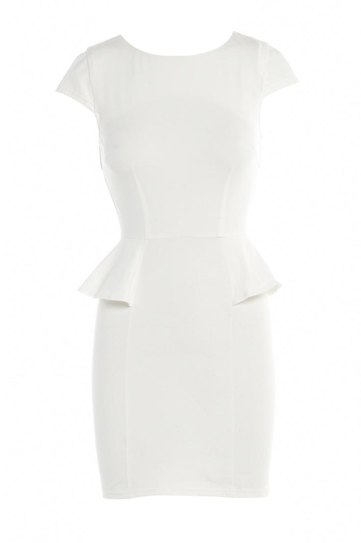Vestido Blanco Peplum  Vestido crema escote corazón de EliseRyan  Vestido corto para bodas. Vestido corto de novia.  Short wedding dress  Shop at dresslux.com  Compralo en dresslux.com