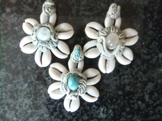 Cowrie Shell pendants with semi-precious stones