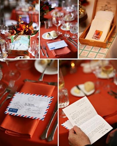 travel theme wedding reception