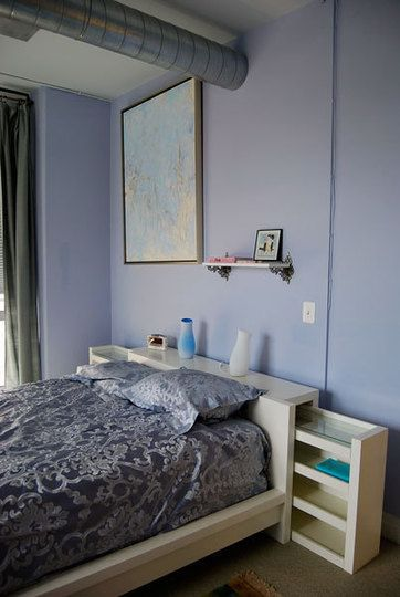 Each day waking up in the lavender blue bedroom was a happy day because we loved the paint color - Benjamin Moore feather soft 1431.