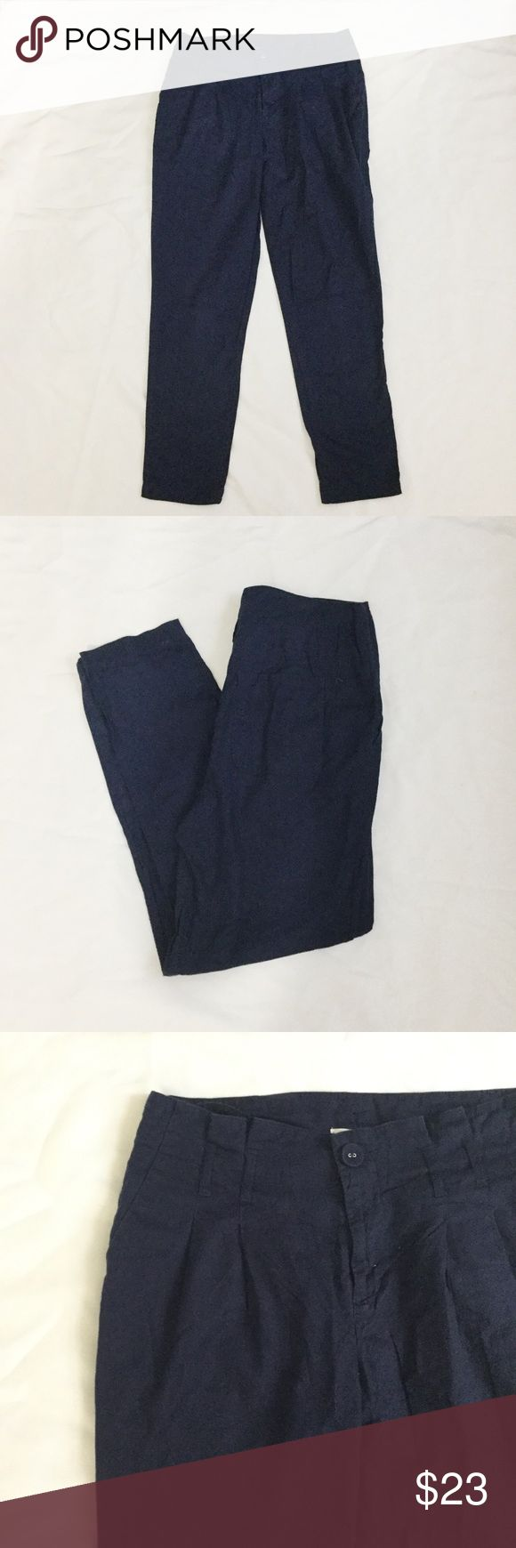 Navy Urban Outfitters Cooperative Paper Bag Pants Navy blue Urban Outfitters Cooperative paper bag pants. Front pleats. Belt loops. Front and back pockets. 100% cotton. Loose through thigh. Tapers at bottom. Look great cuffed! Reasonable offers accepted. Urban Outfitters Pants Ankle & Cropped