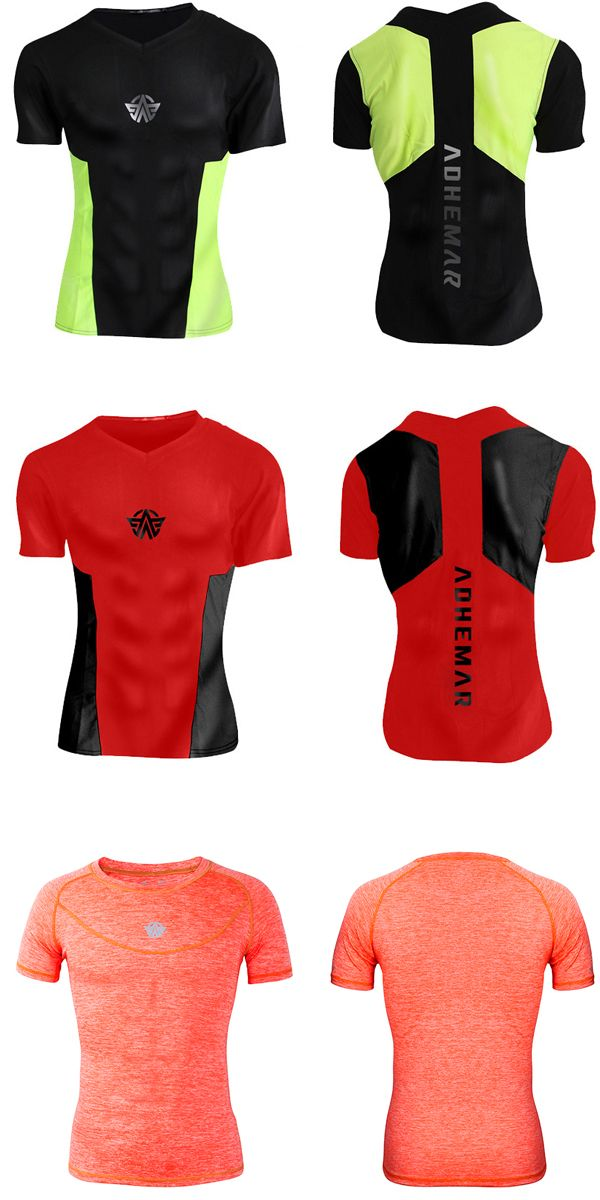 Mens Tight Outdoor Traning Sport T-shirt Breathable Wicking Summer Running Quick-drying Sportwear