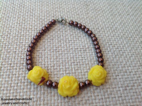 brown pearl and yellow roses bracelet, polymer clay flowers, vintage style jewelry, mother's day,anniversary/birthday gift by bizoulanz