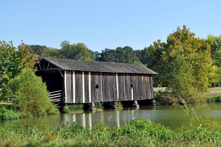 Alamuchee-Bellamy Covered Bridge at UWA Campus in Livingston, AL (built 1861 by the Confederate Army)  Rural Southwest Alabama. The bridge was used as an access route to Mississippi by Confederate forces led by General Nathan Bedford Forrest.