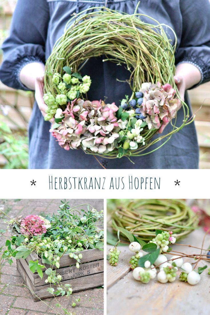 Einen Herbstkranz aus Hopfen und Hortensien binden – MrsGreenhouse.de