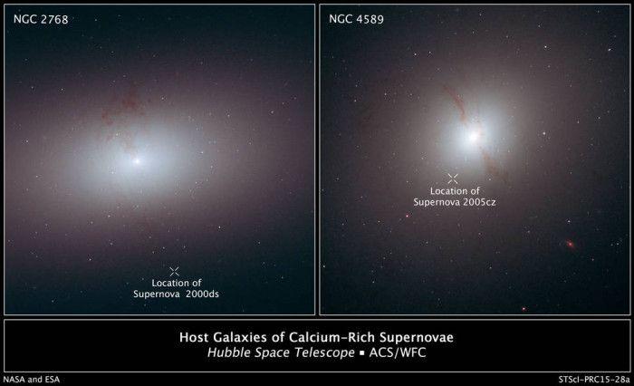 """Queste immagini di Hubble mostrano galassie elittiche egnate da lunghe linee di polvere scura, segno di una recente fusione di due galassie. Le """"X"""" il figura indicano i punti in cui sono esplose delle supernovae associate alle galassie. Credits: NASA, ESA, and R. Foley (University of Illinois)"""