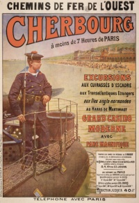 Cette affiche a été éditée alors que Cherbourg était une place militaire de premier ordre, cadre de revues navales médiatisées (1896, en présence du tsar par exemple), et un port d'escale de plus en plus fréquenté par les paquebots transatlantiques. Elle est aussi à replacer dans le contexte plus large de l'essor du tourisme sur les côtes manchoises.