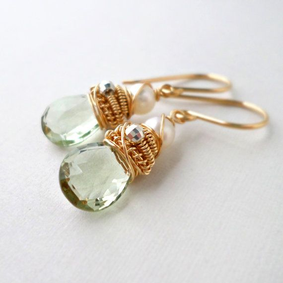 Green Amethyst Earrings Gold Dangle Light Green Stone Pale