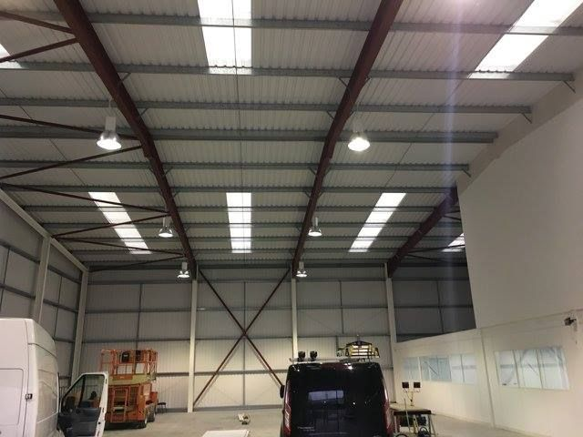 It's not all about pretty domestic lighting. Ambit Electrical are great at commercial sites too. Warehouse/Office/Kitchen high bay lighting using JCC Skytile with occupancy sensors. #localbusiness #electrician @jcclighting