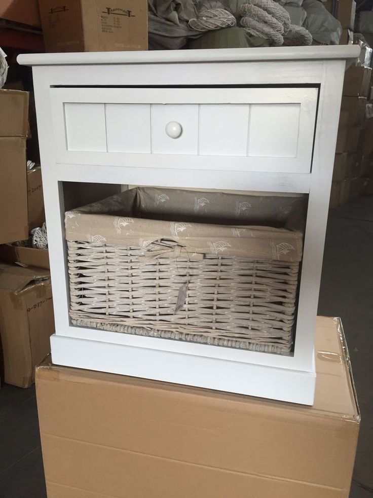 Wooden Bedside Table/furniture/2drawer/wicker Basket/washed White