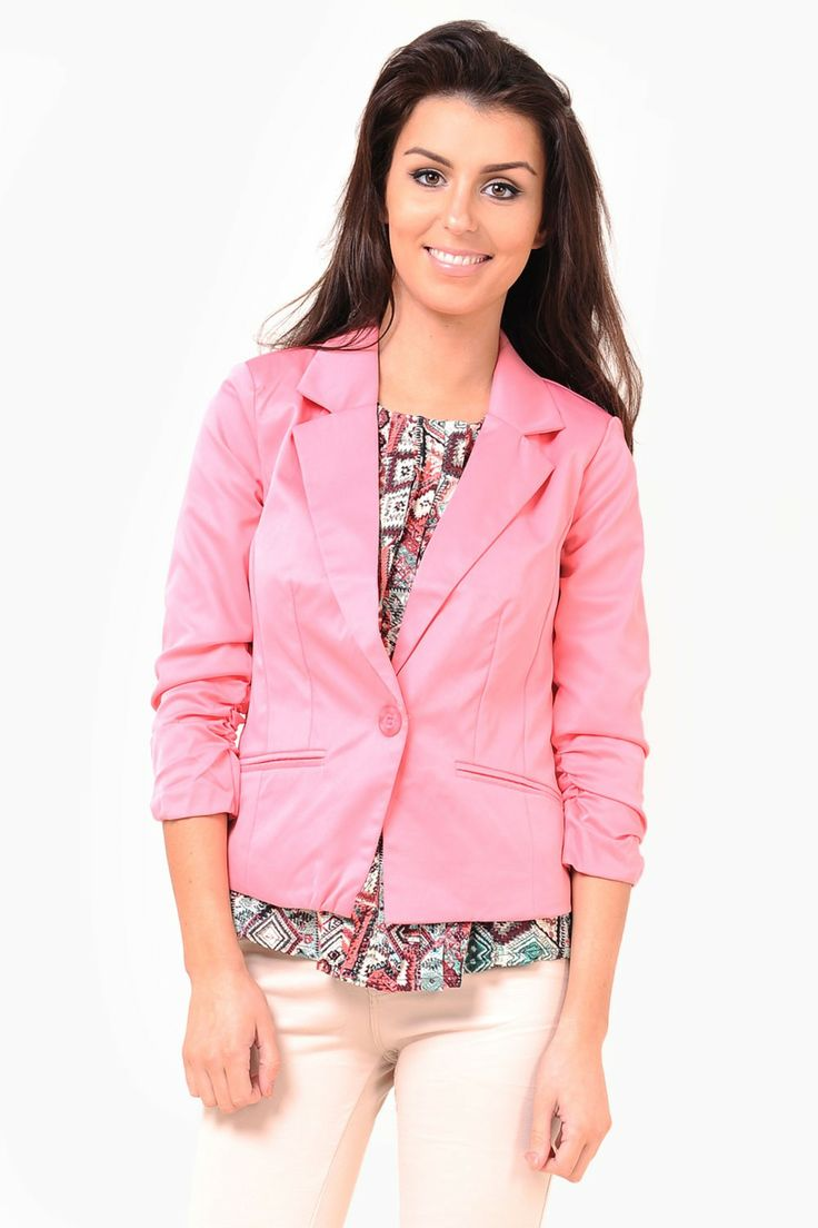 One button blazer featuring 3/4 length sleeves with ruched detail at the cuff and twin front pockets.