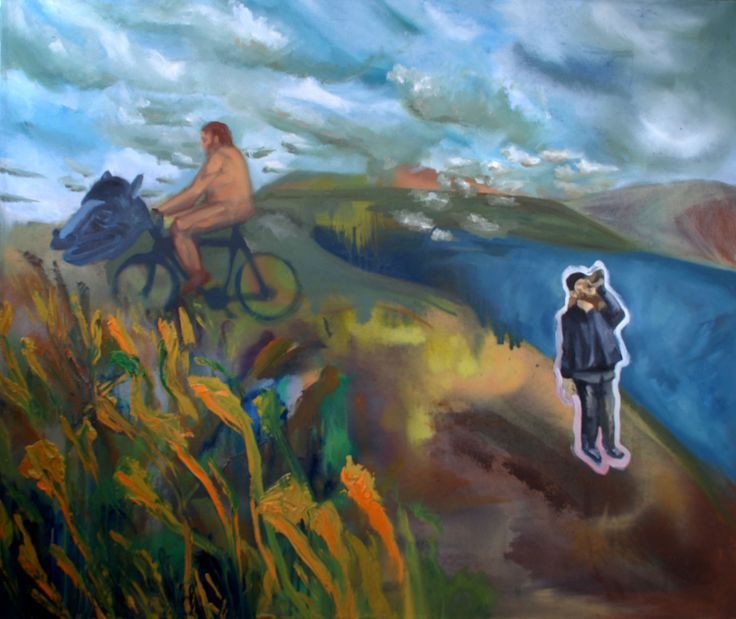 With my bro, Mark in the middle of hell  Oil on canvas by David Nemeth