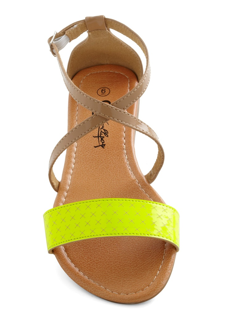 // Weak in the Neon Sandal in Yellow | Mod Retro Vintage Sandals | ModCloth.com