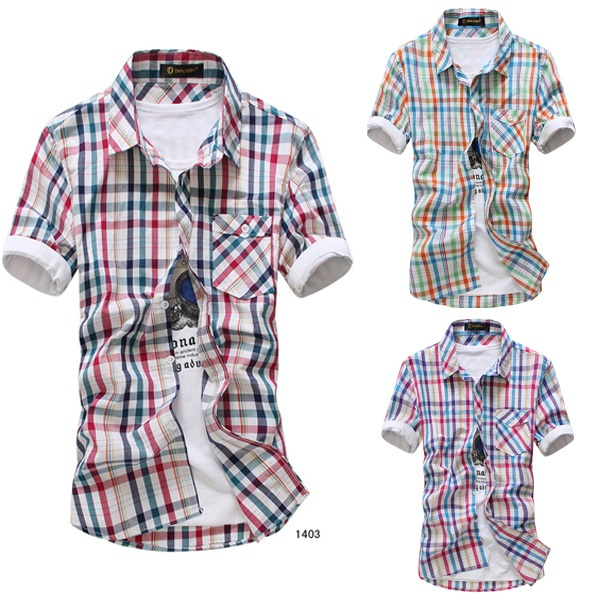 Men's Summer Short Sleeve Plaid Shirt at Sneak Outfitters  http://www.sneakoutfitters