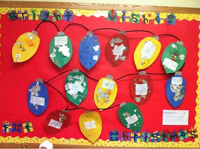 DIY Christmas Light Classroom Bulletin Board. A showcase of creativity and color for December in your younger classroom! Ideal for K-1 level.