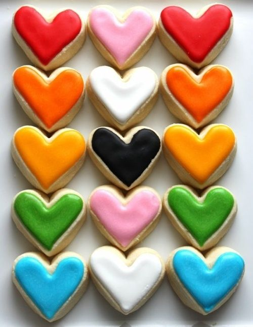 Brightly coloured heart-shaped cookies