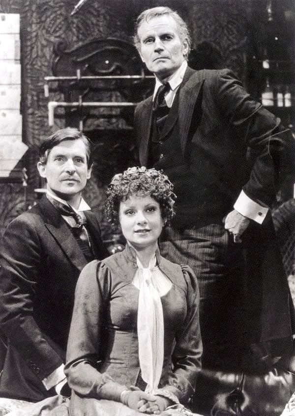 Jeremy Brett as Watson with Charlton Heston as Holmes and Suzanne Lederer in Crucifer of Blood at the Ahmanson theatre. L.A 1980