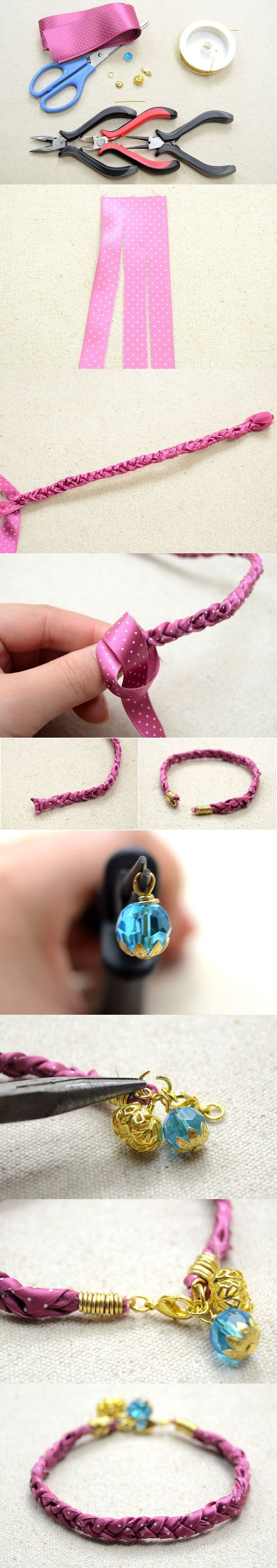 Making Braided Ribbon Bracelet within 2 Minutes