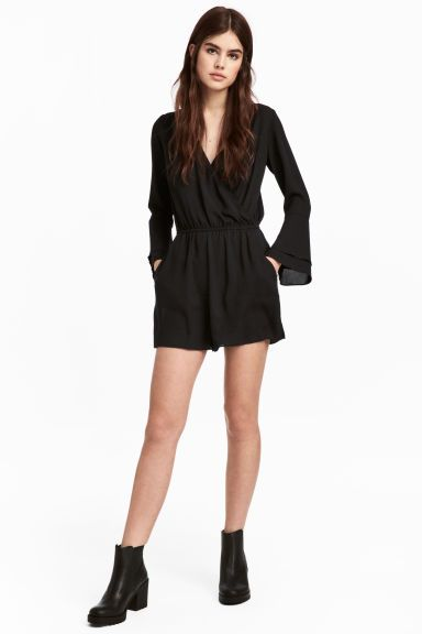 V-neck playsuit - Black - Ladies | H&M GB 1