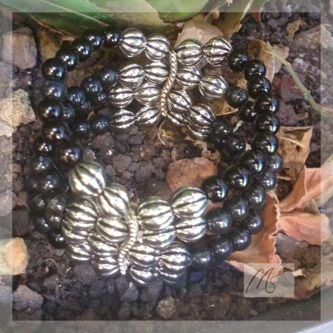 Bracelete preto com prata - MelimArts
