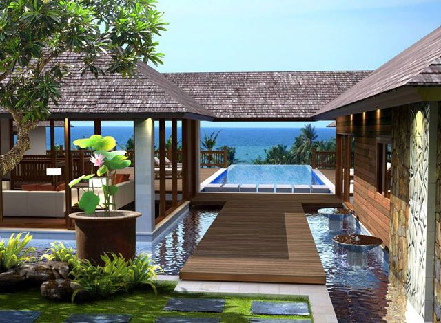 Breezeway of modern tropical home modernist design for Tropical style house plans