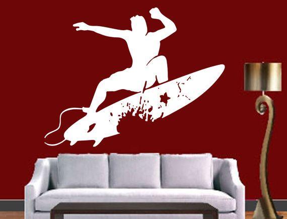 Surfer Surfboard Surf Wall Window Vinyl Decal Sticker