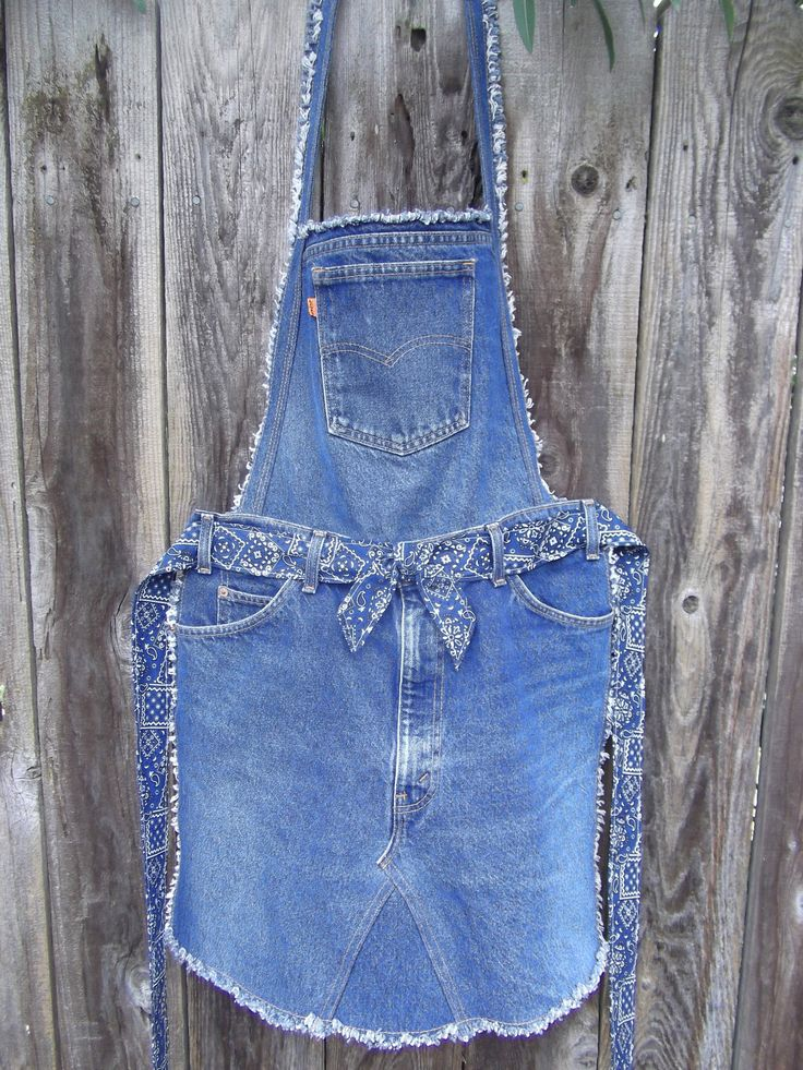 """Recycled denim """"overall"""" apron."""