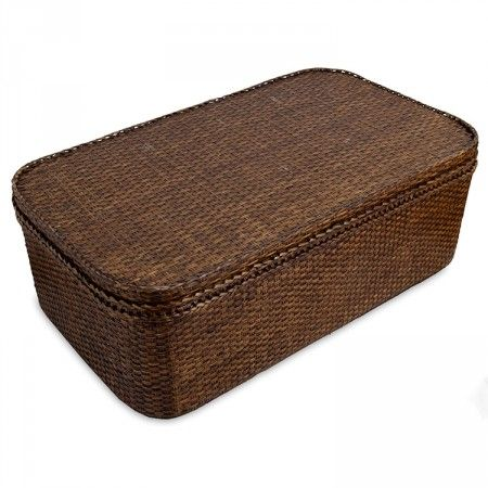 Rattan Coffee Table Chest Brown