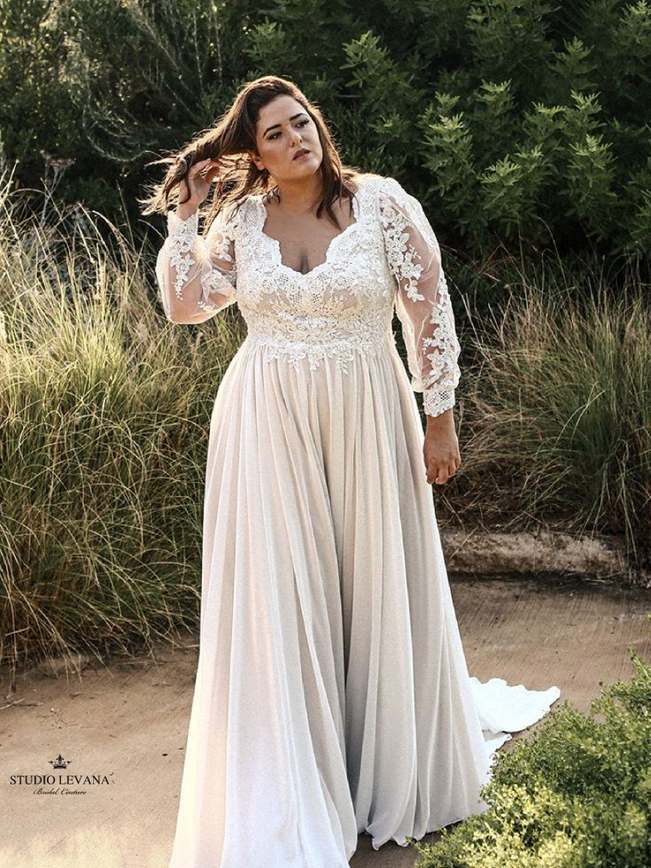 Gorgeous Plus Size Wedding Dress With Deep V Neckline And Long Lace Bishop Sle Plus Size Wedding Dresses With Sleeves Plus Wedding Dresses Petite Wedding Dress