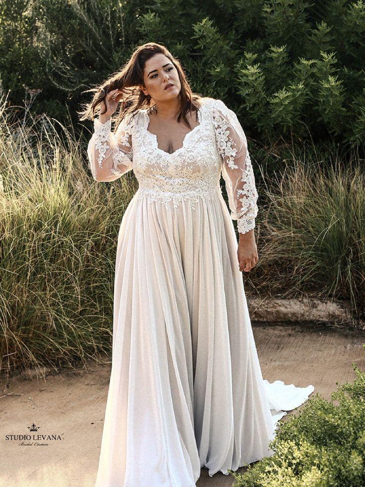 Gorgeous Plus Size Wedding Dress With Deep V Neckline And Long Lace Bi Plus Wedding Dresses Plus Size Wedding Dresses With Sleeves Petite Wedding Guest Dresses