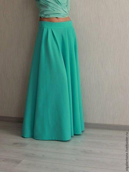 Юбки ручной работы. Бирюзовая юбка полусолнце. Olga  Berkana. Интернет-магазин Ярмарка Мастеров. Бирюзовый, юбка длинная