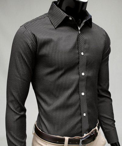 Vogue Shirt Collar Vertical Stripe Slimming Long Sleeve Polyester Casual Shirt For MenShirts | RoseGal.com