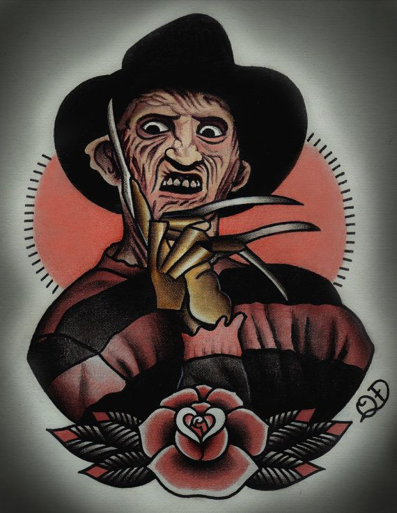 Freddy Krueger Tattoo Art Print by ParlorTattooPrints on Etsy, $26.00