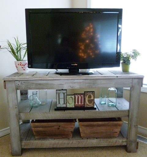 MASTER BEDROOM - If not an armoire for the t.v. I love this rustic wood table for a media stand.