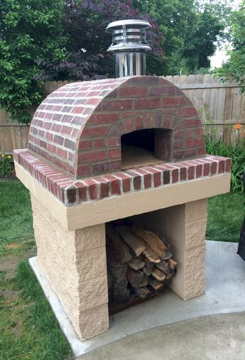 One of the most BEAUTIFUL Cortile Barile ovens we've seen! This is the perfect example of how to apply Thin-Brick Veneer over Ceramic Fiber Blanket to create the Perfect Outdoor Pizza oven!  BrickWoodOvens.com