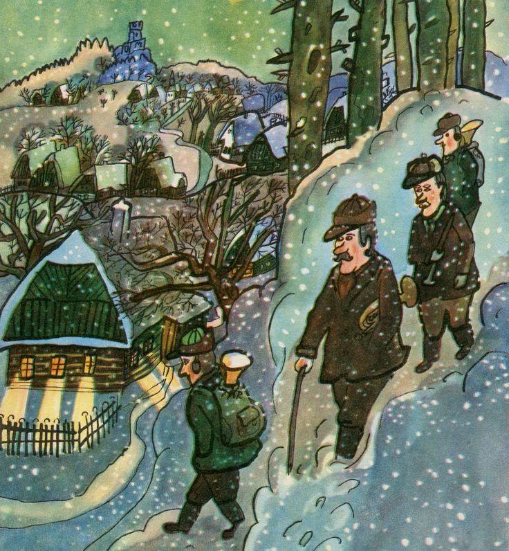 February - The musicians returning home during a snow fall. Únor – Muzikanti se vrací v zimě domů