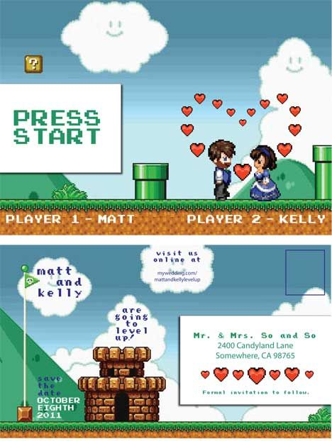 "cute ""video game"" themed wedding - love the response cards on here!"