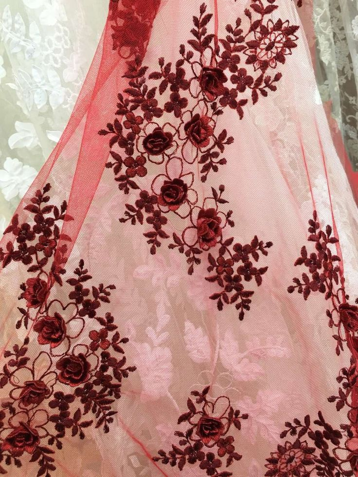 Warm red lace with handmade flower contact me:dresschina@hotmail.com