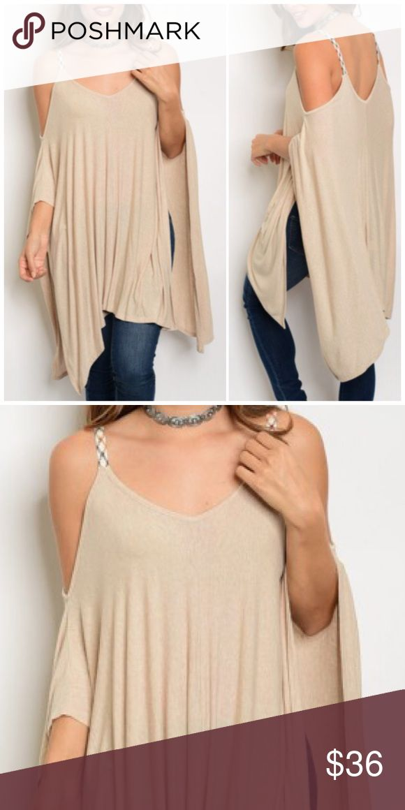 "🆕 Beige Cold Shoulder Tunic Top Beige Cold Shoulder Tunic Top featuring flutter sleeves and a scoop neck. 95% Rayon 5% spandex. Measurements for small length 34""/ Bust 50""/ waist 64"". Bchic Tops Tunics"