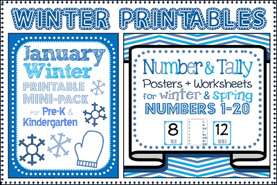 winter themed printables for january math centers great for preschool pre k kindergarten. Black Bedroom Furniture Sets. Home Design Ideas