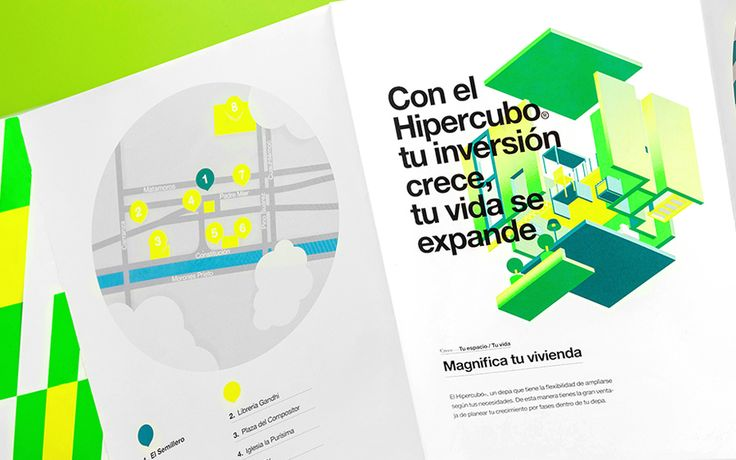Print with fluorescent spot colour and illustrative detail by Anagrama for residential property development El Semillero