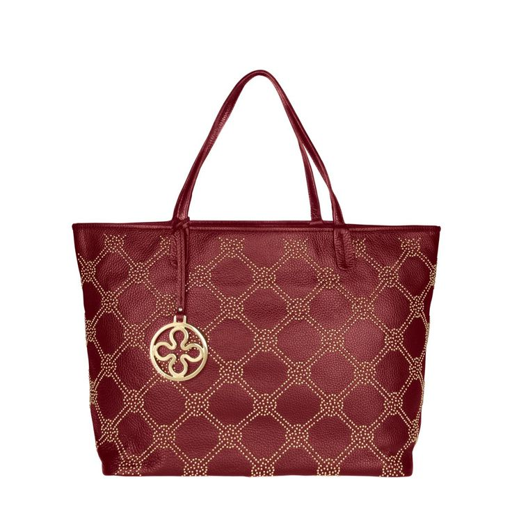 #V73 Firenze Dk. Red Leather Bag whit zip closure, Studs, Charms shown in photo included, Metal feet at the base 48 x 30 x 17 Shop now: http://www.v73.it/en/pelli-pregiate/firenze