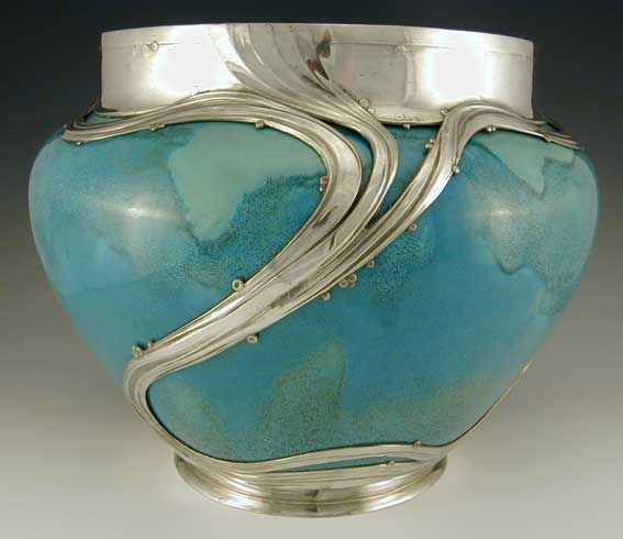 Ceramic jardiniere with Art Nouveau polished pewter decoration ~ Germany  ~ 1902. @designerwallace