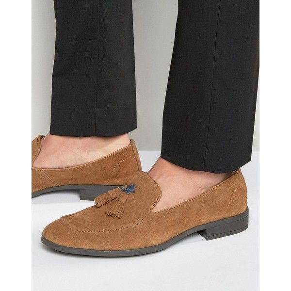 Dune Tassel Loafers Brown Suede ($71) ❤ liked on Polyvore featuring men's fashion, men's shoes, men's loafers, brown, mens brown loafer shoes, mens slip on shoes, mens suede slip on shoes, mens tassel loafer shoes and mens slipon shoes
