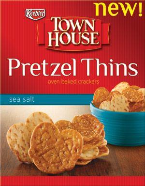 Town House Pretzel Thins Oven Baked Crackers Sea Salt